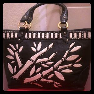 Isabella Fiore leather bamboo woven totes Rare